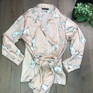 ZARA WOMAN • Cat Pink Silky Blouse